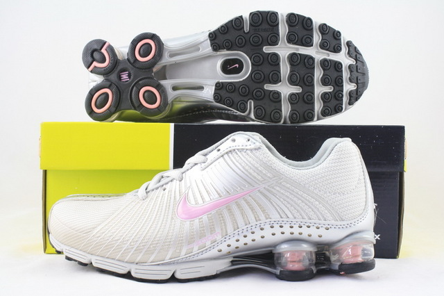 Women Nike Shox R1 Silver Pink Logo Shoes