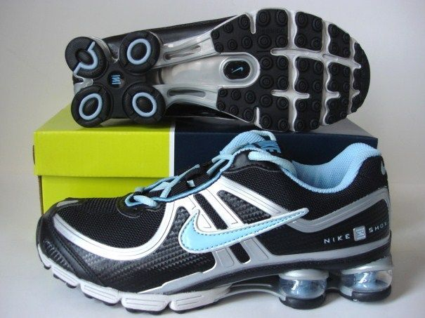 Women Nike Shox R2 Black Silver Light Blue Shoes