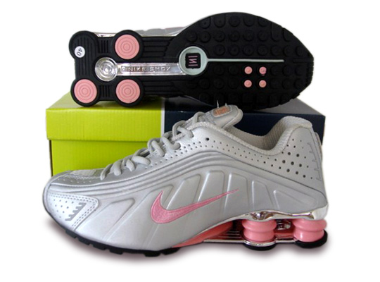 Womens Nike Shox R4 Shoes Silver Pink