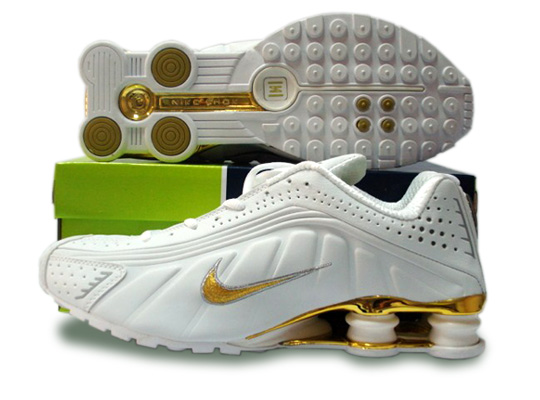 Womens Nike Shox R4 Shoes White Golden
