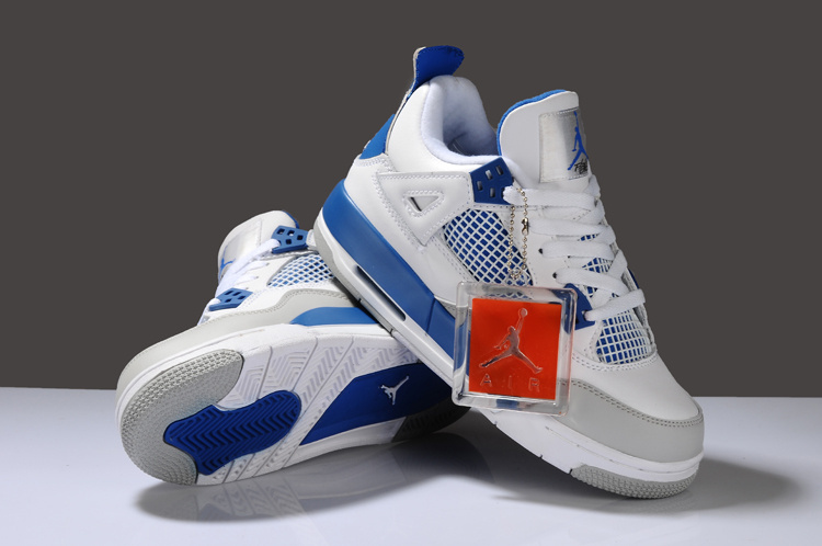Nike Air Jordan 4 White Blue Grey Shoes For Women