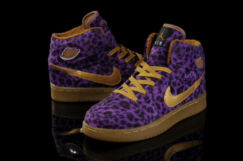 Nike Cheetah Print Jordan 1 Purple Brown Shoes For Women