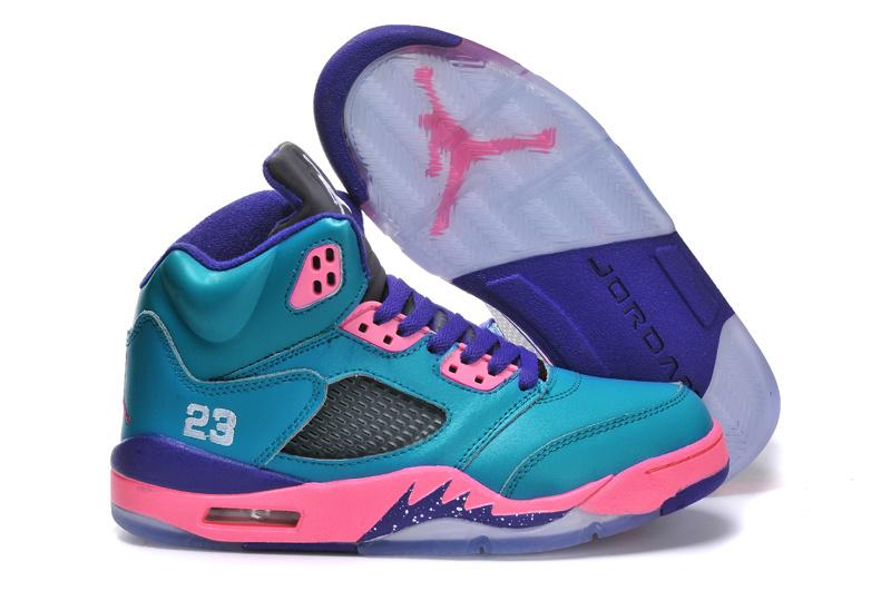 Nike Jordan 5 Retro Blue Purple Pink Shoes For Women