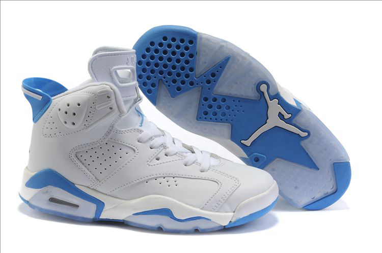 Nike Jordan 6 White Light Blue Shoes For Women