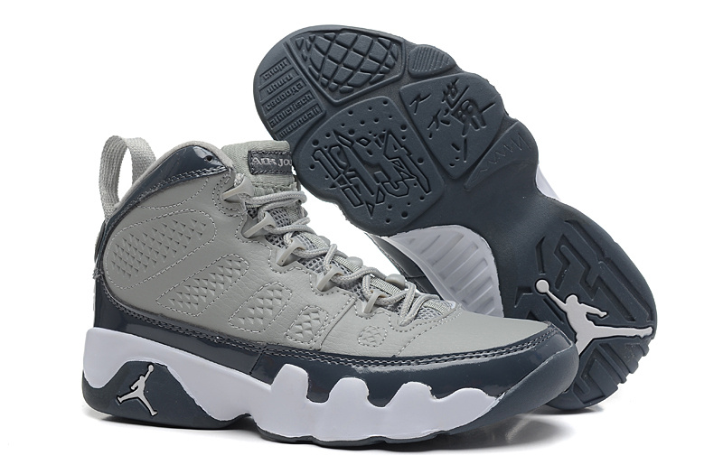 Nike Jordan 9 Grey Black White Shoes For Women