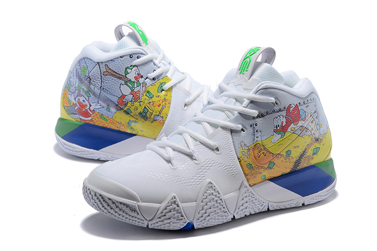 nike kyrie 4 donald duck white yellow basketball shoes