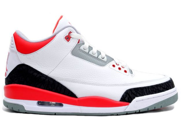 real nike jordan 3 white fire red cement grey shoes